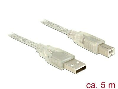 Delock Cable USB 2.0 Type-A male > USB 2.0 Type-B male 5 m transparent Ø 4 mm