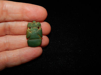 Pre-Columbian Avian Pendant Bead, Nicoya, Green Jade, Authentic