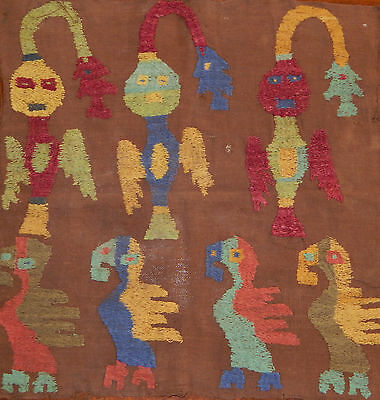 Antique Peruvian Textile Fragment with Birds