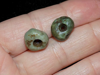 Pre-Columbian Jade Beads, Mayan Round Jade Beads Pair of 2 Central America