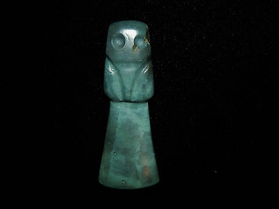 Pre-Columbian Blue Jade Avian Axe God Pendant, Authentic, Very Rare