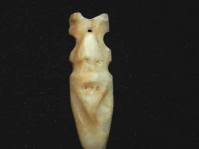 Pre-Columbian Axe God Figure Pendant, Avian Axe God,  White Jade, Authentic