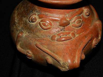 Pre-Columbian Globular Pot with Frog Effigy, Authentic, Costa Rica