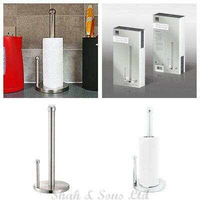 New Chrome Stainless Steel Kitchen Tissue Roll Holder Paper Towel Stand Silver