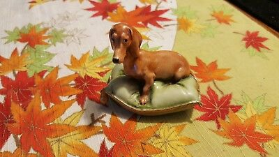 Vintage Miniature Ceramic Dachshound Weiner Dog Figurine Estate Find