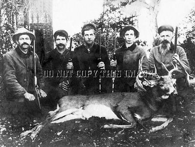 Early Antique Deer Hunting 8X10 Repro Deer Hunting Photo 1873 Winchester Rifles