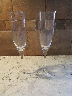Lot of 2 Noritake 'Royal Pierpont' Crystal Champagne Flutes Spiral Optic