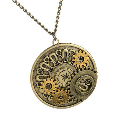 Steampunk Alloy Watch Gears Necklace Steam Punk Pendant Movements Gothic Men