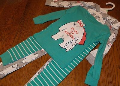 """Boys 2T CARTER'S 2 PACK PAJAMAS """"MY DAD IS A SUPER HERO"""" Father's Day Polar Bear"""