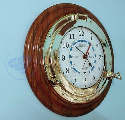 Wooden Based Polished Brass Porthole Time Tide Wall Clock Hanging Home Decor