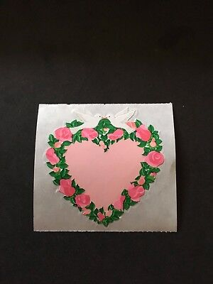 Snadylion vintage 80s very rare kromekote flowers and doves heart sticker