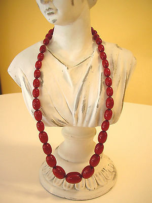 """Antique Art Deco Natural Baltic Amber Oval Egg Cherry Red Faturan Necklace 25"""""""