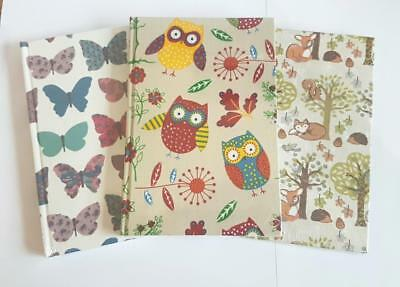 A5 Fabric Covered Notebook Journal Lined Book Woodland Forest Owls Butterfies