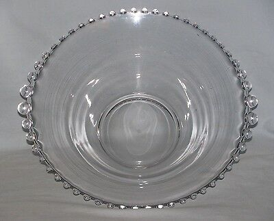 """Imperial 12 1/4"""" Clear Glass Bowl Candlewick Pattern Polished Bottom"""