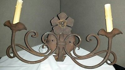 Vintage Double Sconce Heavy Wrought Iron Rustic Rusty Look Light Fixture