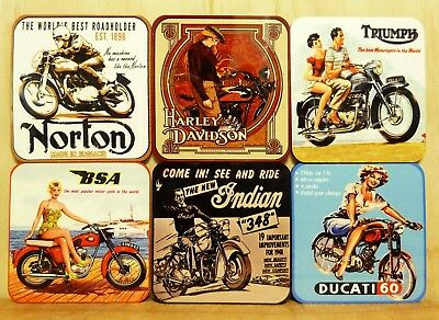 Coaster Set Of 6 - Vintage Motorcycles Harley Triumph Bsa Indian Ducati