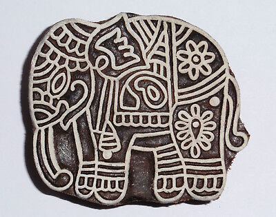 Elephant Shaped 8cm Indian Hand Carved Wooden Printing Block EL40 (SECONDS)