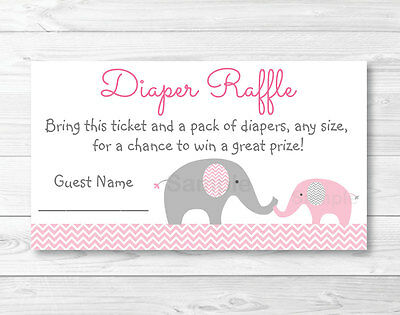 Pink Chevron Elephant Printable Baby Shower Diaper Raffle Tickets