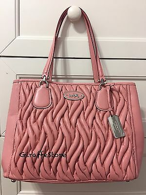NEW - Coach KITT CARRYALL SHOULDER BAG IN GATHERED LEATHER - Light Pink