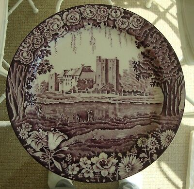 (3) Enoch Woods Purple Castles 10 In Dinner Plates Plus Bowl