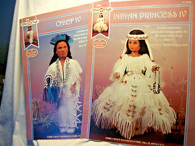 Lot of two crochet booklets for Native American doll clothes #FCM449 & FCM446
