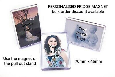 3 Personalised Custom Acrylic Photo Gift Fridge Magnets 70mm x 45mm Fathers Day