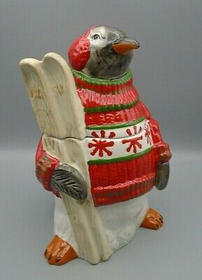 Pier 1 Hand-Painted Earthenware Penguin in Sweater, Ear Muffs & Skis Cookie Jar