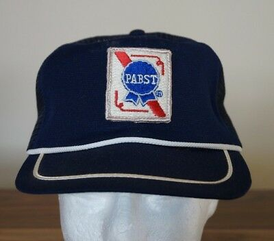Vintage 70s / 80s PABST BEER Snapback Trucker Large Hat Patch NOS USA Blue Retro