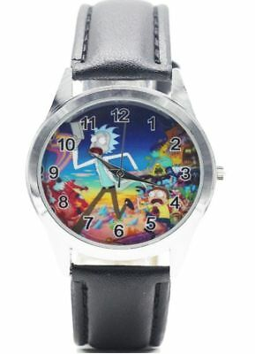 Rick and Morty TV Series Crazy Adventures Black Genuine Leather Band Wrist Watch