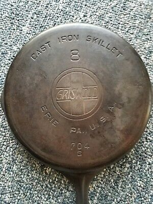 Vintage Antique Griswold Cast Iron No 8 Skillet Early. Erie, PA 704G Cookware