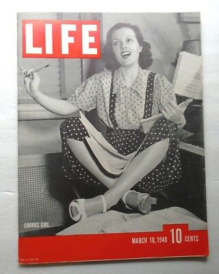 LIFE MAGAZINE March 18 1940 SEABISCUIT TAFT BROADWAY CHORUS GIRL WWII Vintage AD