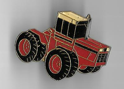 Vintage Red 8 Wheel Commercial Tractor large old enamel pin