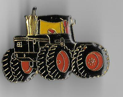 Vintage Large Red/Black Construction 4-wheel Tractor old enamel pin