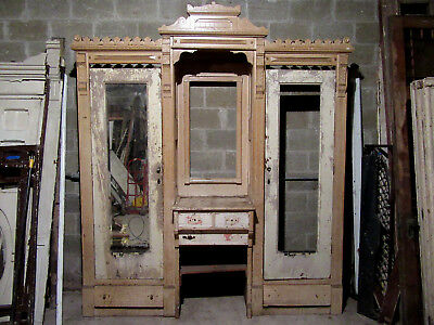 ANTIQUE CARVED WALNUT CLOSET FRONT~ BUILT IN ARMOIRE~ 89 x 105~ SALVAGE