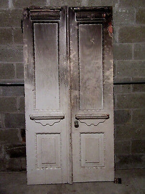~ ANTIQUE CARVED DOUBLE ENTRANCE FRENCH DOORS  ~ 41 x 80 ~ ARCHITECTURAL SALVAGE