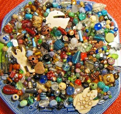 Lot Of Glass Beads~Vintage To Now~1Lb +~Estate Sale~Assorted Shapes,colors,sizes