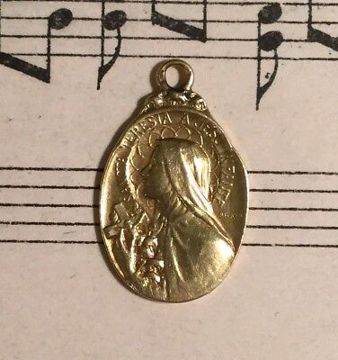 Antique French 18k Gold Medal St. Therese of Lisieux Signed Becker c1910