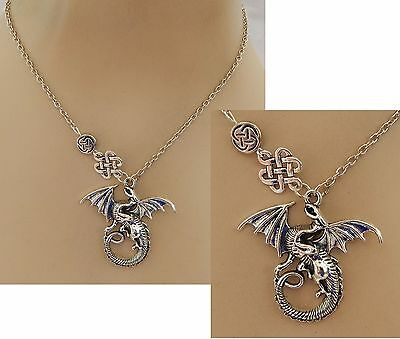 Silver Celtic Knot Dragon Pendant Necklace Jewelry Handmade NEW adjustable