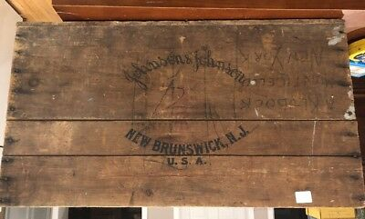 "Vintage ""Johnson & Johnson WOODEN CRATE WOOD BOX New Brunswick, NJ RARE!!"