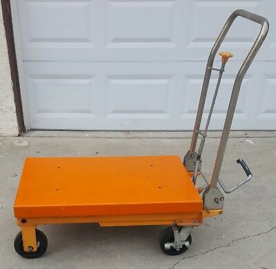 Steel moving carryng Hydraulic Lift Table Cart Capasity 1100 lbs