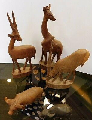 5 Assorted Hand Carved Wood Art Sculpture Statues Animal Figurines KENYA
