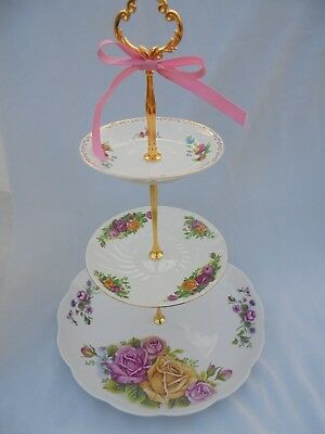 WEDDING CAKE STAND Purple Rose 3 Tier Serving Tray Vintage China Gift for Her