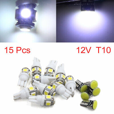 15pcs 12V White Car Interior T10 COB Light 5050 SMD LED Lamp Package Kit