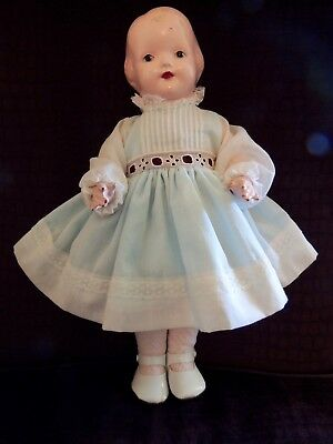 """Vintage Effanbee Baby Dainty Doll 14"""" 1920s Composition & Cloth, Excellent Shape"""
