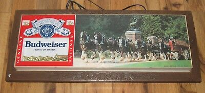 Vintage Budweiser Light Up Sign Beer Clydesdale Team Rare Parts Repair
