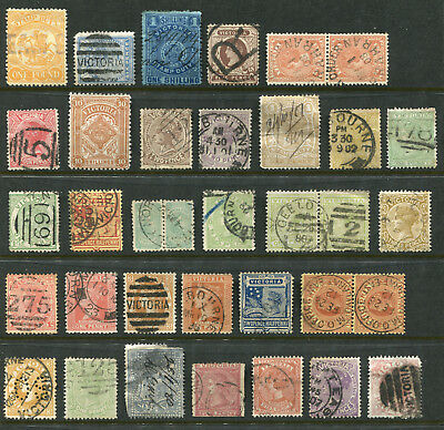 1850-1913 Victoria.  Unchecked selection of 35 state stamps.
