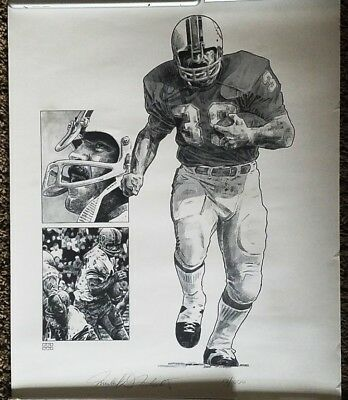 """LARRY CSONKA 16"""" x 20"""" LITHOGRAPH SIGNED BY ARTIST~17/1000~FOOTBALL HALL OF FAME"""