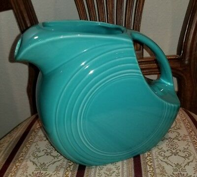"Vintage Fiesta Ware Turquoise Colored Disc Pitcher Homer Laughlin USA 7"" Tall"