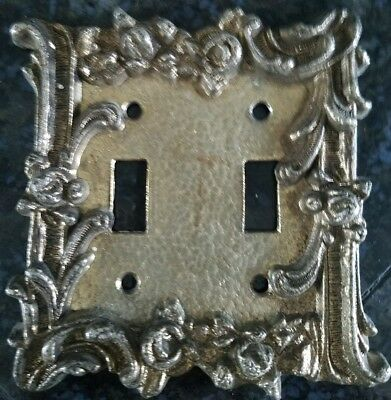 Vintage American Tack Cast Brass Double Toggle Switch Plate Decorative with Swag