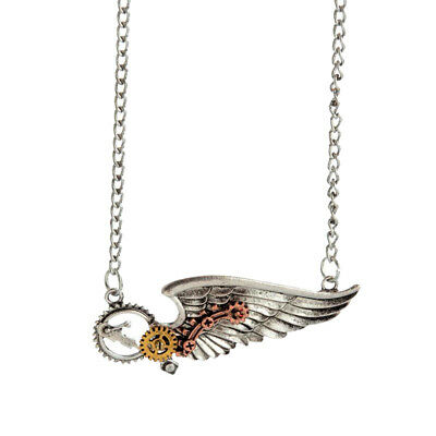 Steampunk Necklace Vintage Gothic Jewelry Antique Silver Wing Gear Pendant